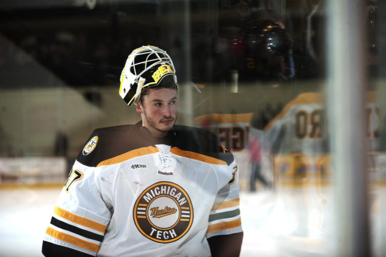 David Archambeau/Daily Mining Gazette Michigan Tech's Angus Redmond looks on at the MacInnes Student Ice Arena on Nov. 11 against Lake Superior State.