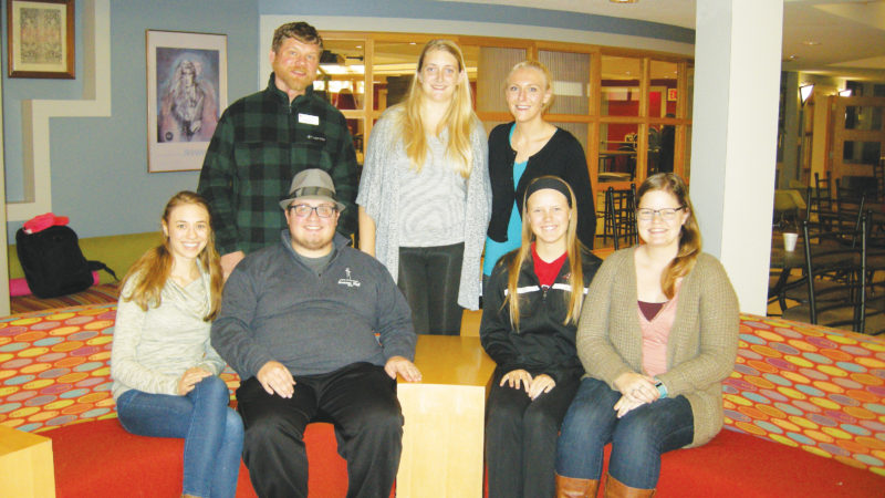 Andrea Johnson/MDN Pictured in the front row are Lutheran Campus Ministry interns Cassie Stauffer, Adam Barden, Paige Dolan and Karen Langemo; back row, Rev. Christoph Schmidt, intern Nicole Klug and Dominique Buchholz, vocational internship director.