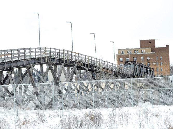 Kim Fundingsland/MDN The Anne Street Pedestrian Bridge spans the river and railroad tracks near downtown Minot.