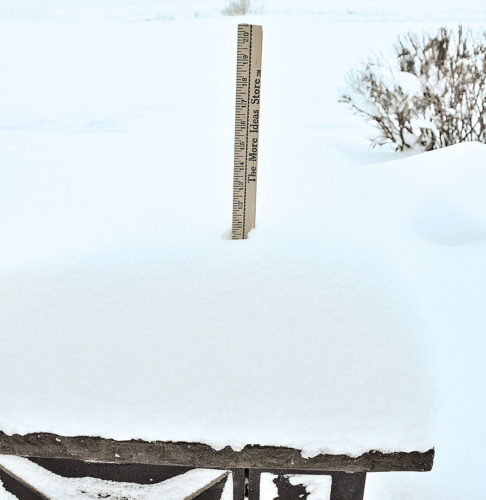 Eloise Ogden/MDN A scientific measurement? Probably not. But this photo illustrates some of the snow that has fallen in Minot during the recent storm.