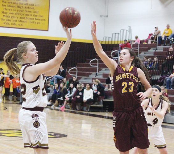 MDN file photo Majettes Kali Askvig attempts a jump shot in a conference game against Turtle Mountain Community High School last season on January 12, 2016 at Minot High School.