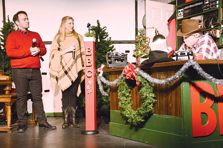 "Submitted Photo Job Christenson and Emily Walter share a scene with Bill Sorensen, right, during rehearsal for the ""Magical Medora Christmas"" show coming to Minot Dec. 17."