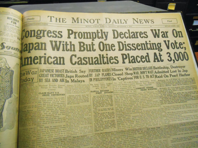 Eloise Ogden/MDN This is the front page of the Minot Daily News on Monday, Dec. 8, 1941, reporting to its readers the attack on Pearl Harbor on Sunday, Dec. 7, 1941.