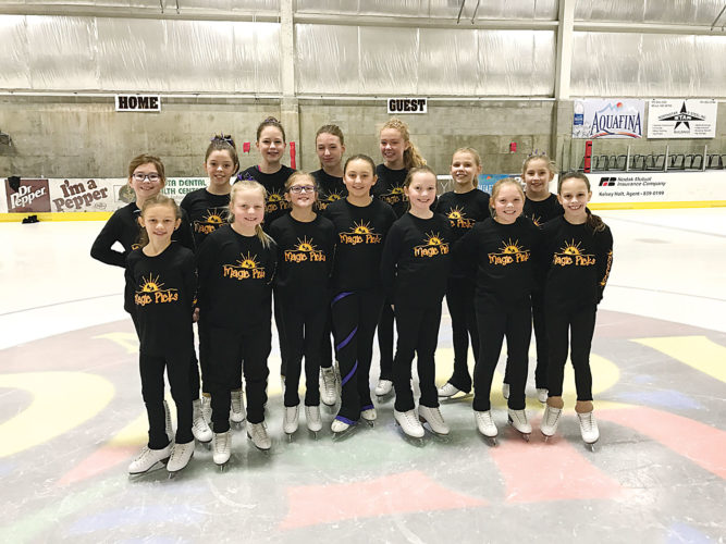 Submitted photo Members of the Magic Picks 2016-17 Pre-Juvenile level synchronized skating team are pictured. Back row, left to right, are Malia Franks, Sierra Kidney, Grace Holman, Mikaela Unhjem, Sydney Bauer, Chloe Thomas, Addison Rakness. Front row, left to right, are Ava Thuner, Kenadi Rakness, Addison Kohlman, Emily Houim, Samantha Halland, Harper Holt, Lily Neset. Not pictured are Helena Lium and Ashlee Ronnie.