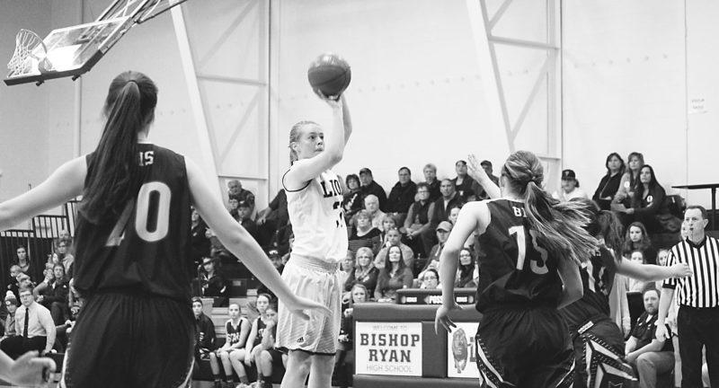 Alex Eisen/MDN Ryan senior Bridget MacLeod (32) attempts a jump shot in a Class B girls basketball game against Bottineau on Saturday.