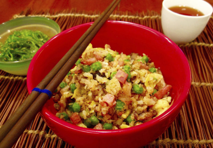 """This January 2017 photo shows fried cauliflower """"rice"""" in New York. This dish is from a recipe by Sara Moulton. (Sara Moulton via AP)"""