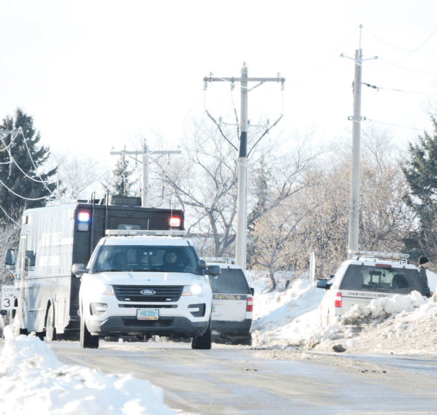 Kim Fundingsland/MDN There was a heavy presence of law enforcement personnel at a north Minot mobile home park Tuesday afternoon, including the Minot Police mobile command unit, following a report of shots fired. One suspect was later transported to Trinity Hospital.