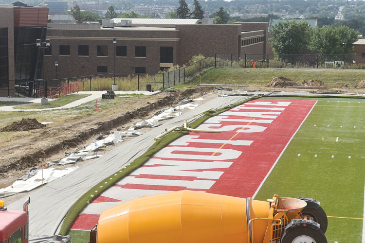 Garrick Hodge/MDN Last fall, construction work began at Herb Parker Stadium to put a bubble cover in place protecting the playing surface from the winter elements.
