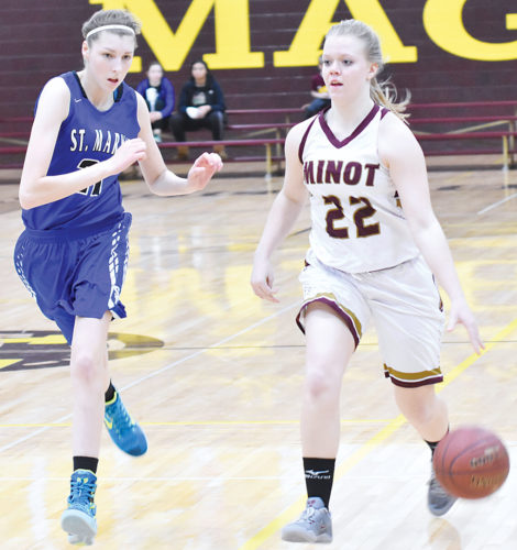 Garrick Hodge/MDN  Minot High's Kali Askvig (22) dribbles the ball down the court during a high school girls basketball game Thursday in Minot.