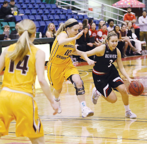 Photos courtesy of Sean Arbaut/Minot State athletics  Minot State guard Madison Wald (3) drives to the lane during a women's college basketball game Saturday at the MSU Dome.