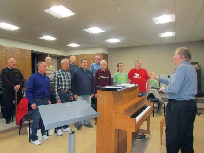 Allan Blanks/MDN Members of the Nodakords rehearse Tuesday night at First Lutheran Church in Minot.