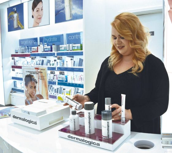 Eloise Ogden/MDN Brekka Warner, Prestige manager at Ulta Beauty in Minot, said following a skin care system to keep skin hydrated is very important when the weather is cold.