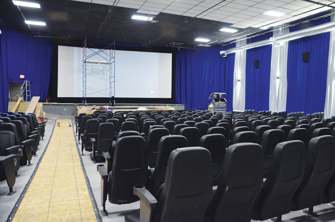 Eloise Ogden/MDN Work is still under way this week at Oak Park Theater in Minot as its opening day on Friday nears. The theater seats about 275 people.