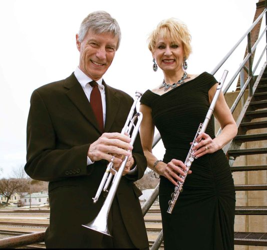 Submitted Photo  Trumpeter, arranger and vocalist Steve Veikley stands beside flutist and vocalist Terri Aldrich. Veikley and Aldrich make up the jazz duo known as Cool Beans.