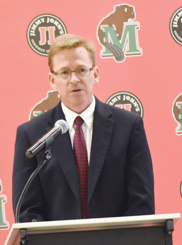Garrick Hodge/MDN Minot State women's basketball head coach candidate Sean Page speaks to the Minot community during an on-campus interview Wednesday at MSU.