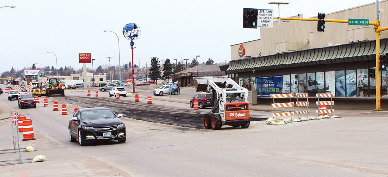 Submitted Photo Traffic moves across the Broadway Bridge Thursday afternoon while contractors remove the median.