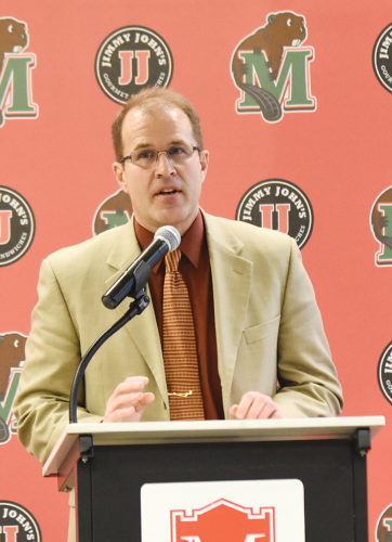 Garrick Hodge/MDN Minot State women's basketball head coach candidate Mark Graupe speaks to the Minot community during an on-campus interview Friday at MSU.