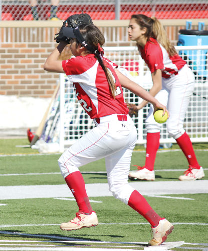 Alex Eisen/MDN Minot State senior pitcher Clarissa Ramirez winds up to throw a pitch in the second game against Montana State Billings on Sunday at Herb Parker Stadium.