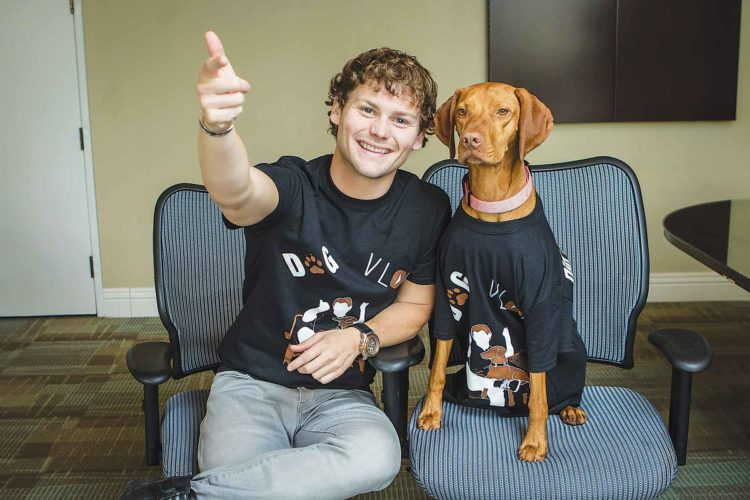 Comedic sensation Drew Lynch sits beside his canine companion Stella as they bring their comedic tour to Ann Nicole Nelson Hall at Minot State University, Tuesday, April 4 at 7 p.m.  SubmittedPhoto