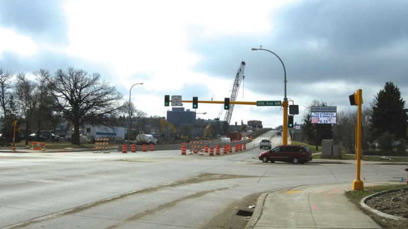 Andrea Johnson/MDN  North Broadway, pictured on April 5, is quite different from its early days. The Broadway Bridge is currently under construction.