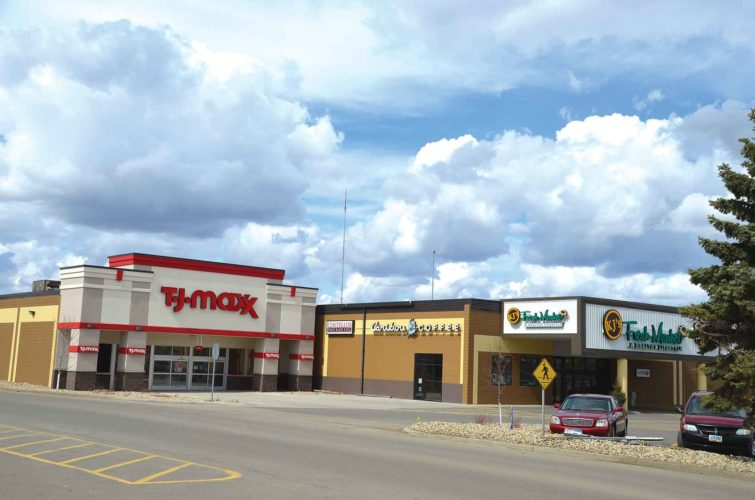 Eloise Ogden/MDN  T.J. Maxx is scheduled to open in Minot in early May. The new store is located on the south side of KJ's Fresh Market and north of Dakota Square Mall. TJX Companies Inc., a leading off-price retailer of apparel and home fashions in the U.S. and several countries, operates stores including T.J. Maxx and Marshalls, according to its website.