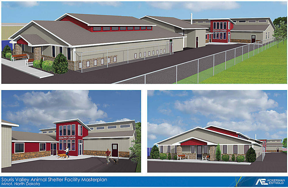 Submitted Art This architect's rendering shows the Souris Valley Animal Shelter to expand the shelter with 7,000 square feet added to the back of the existing building.