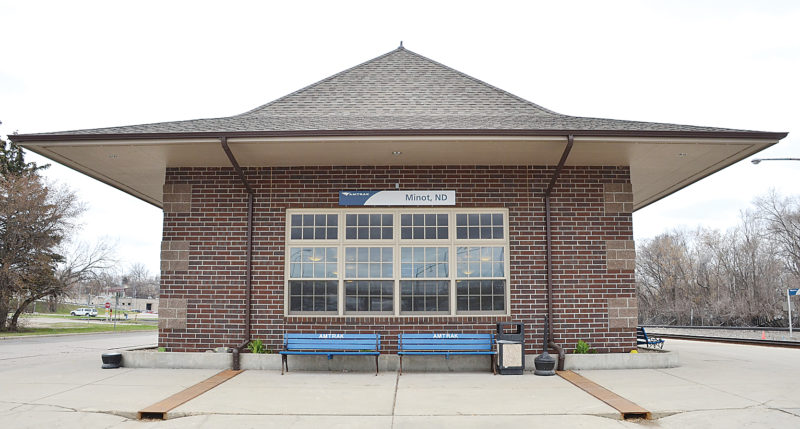 Eloise Ogden/MDN The Minot Amtrak station at 400 1st Avenue SW is the hub for passengers boarding and leaving the passenger train in Minot. Minot had the highest number of Amtrak riders in North Dakota in fiscal year 2016 – more than 29,000.
