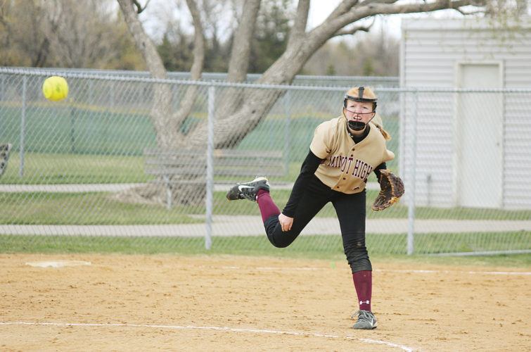 Alex Eisen/MDN Minot High sophomore Jaycie Rostad throws the ball over to first base in the second game of doubleheader against Legacy on Saturday at the South Hill Softball Complex.