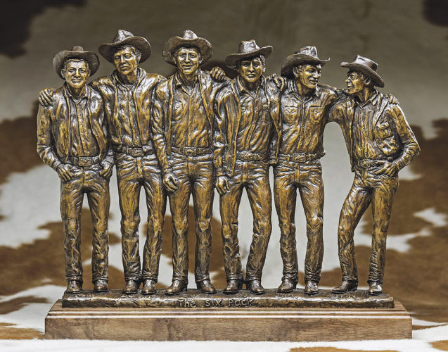 "Submitted Photo Dave Kulczyk, an artist from White Earth who is world-renowned for his work in bronze sculptures, was commissioned to create this sculpture of the famed ""North Dakota Six Pack,"" six N.D. cowboys who rose to fame in the 1950s and 1960s, shown in this photo by Ken Howie. The North Dakota Cowboy Hall of Fame in Medora starts its 2017 season with a Premiere event, Saturday."