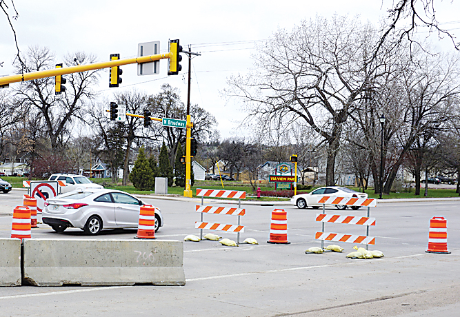 Jill Schramm/MDN Road closure barriers Wednesday mark a section of Second Street Southeast, where construction has started as part of the final phase of the downtown infrastructure improvements project.