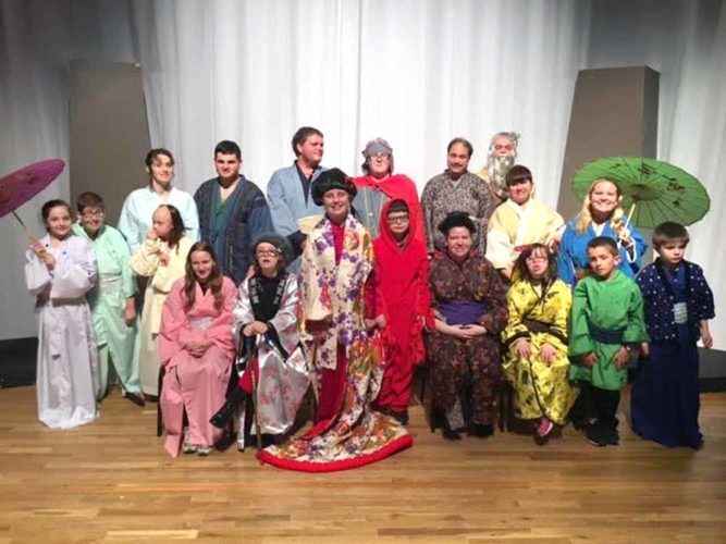 "Submitted photo The ""Mulan Jr."" cast: (front, from left) Codi Sherrill, Lizzie Lehman, Alyssa Baker, Seth Rossi, Rebekah Martin, Dez McCoy, Kyle Krawchyk and Devan Baker; (second row) Ava Troup, Carli Cope, Camdyn DuVall Debbie McKenzie and Tori Snyder; (back) Gabby Levine, Dustin Snyder, Ken Jones, Caleb Clapsadle, Scott Ridgley and Ian Cole. Not pictured is Ryan Houck."