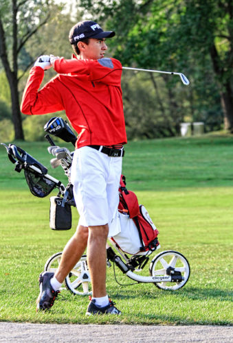 Morning Journal/Wayne Maris Columbiana junior Jared Wilson tees off at Salem Hills Golf and Country Club on his way to winning the Division III state title. Wilson made a verbal commitment Friday to attend Wake Forest University.