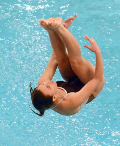 East Palestine senior Faith Anderson dives to a sixth-place finish in the Division II state diving meet in Canton Wednesday. (Morning Journal/Patti Schaeffer)