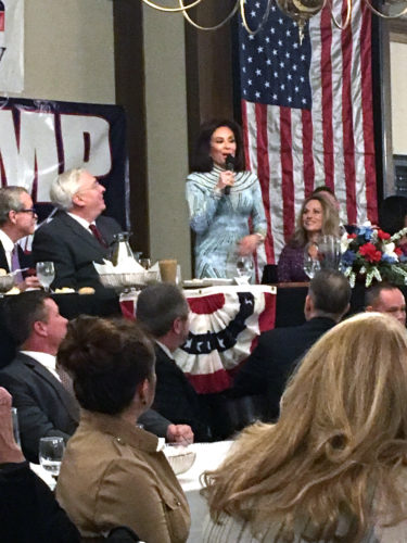 Morning Journal/Katie White Judge Jeanine Pirro addresses the Lincoln Day Dinner crowd.