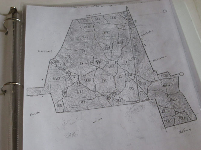 Photo by JESSIE SALISBURY This is the base map of Lyndeborough showing its 47 zones.