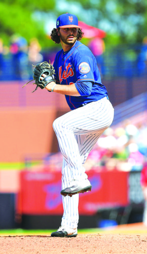 Photo courtesy of the New York Mets New York Mets pitcher Kevin McGowan, of Nashua, delivers a pitch during spring training action against the Houston Astros on March 3, 2017, at First Data Field in Port St. Lucie, Fla.