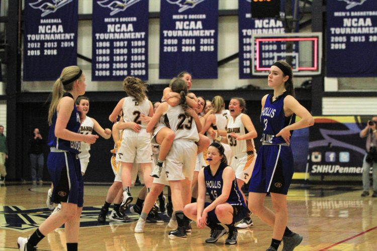 Staff photo by Jason Orfao Hollis Brookline's Kali Simonds (4), Haley Modelski (15) and Brodie Kelley (13) make their way off the court as Lebanon celebrates its 44-35 triumph in the Division II championship on Friday night at SNHU.