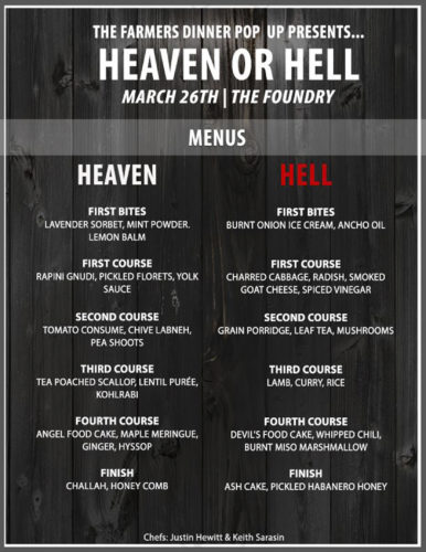 "Courtesy photo The Farmers Dinner will present a dual-menu ""Heaven or Hell"" dinner event March 26 at The Foundry in Manchester."