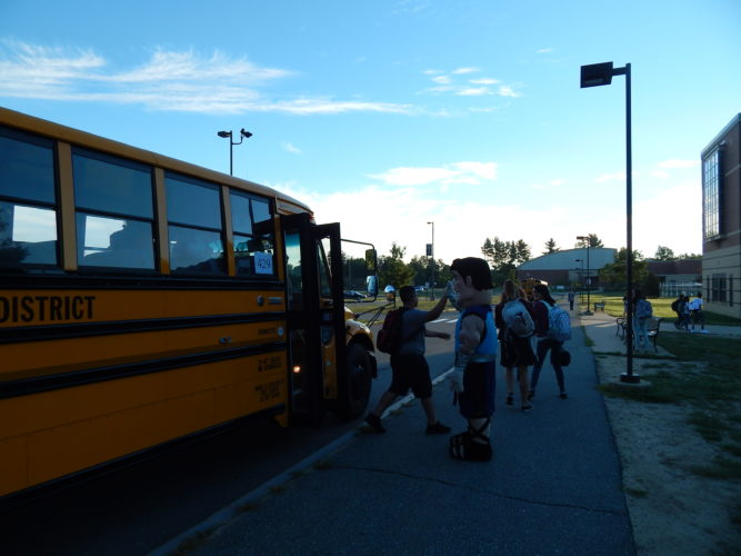File photo Students arrive at Nashua High School North for the first day of school in 2016.