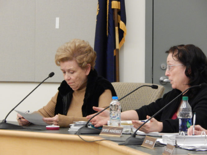 Staff photo by TINA FORBES From left, Board of Education members Sandra Ziehm and Doris Hohensee at the Wednesday evening Budget Committee meeting.