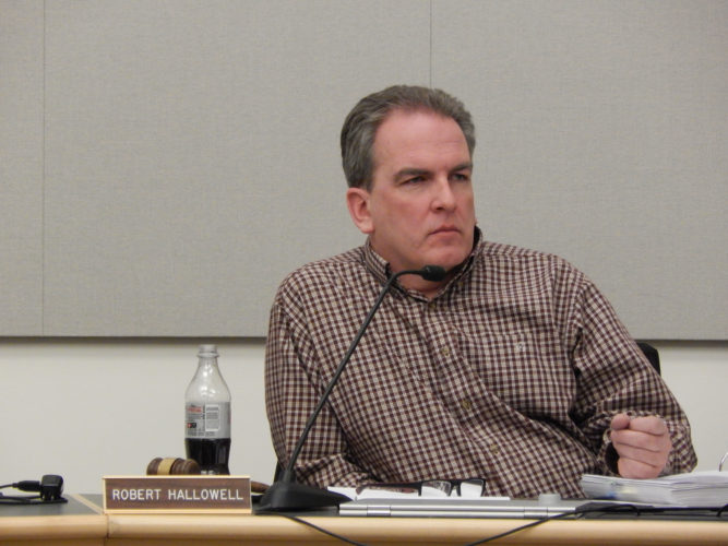 File photo Robert Hallowell, chairman of the Board of Education Budget Committee, at the March 15 committee meeting.