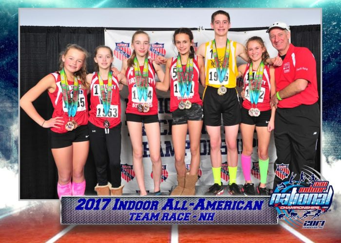Courtesy photo Members of TEAM RACE, from left to right,  Elizabeth White, Nashua;  Abbey Halloran, Milford; Amy Pattelena, Hollis; Cali Coffin, Nashua;  Chris Keefe, Nashua; Rose Goyette, Pelham; coach Gary Goyette, Pelham.