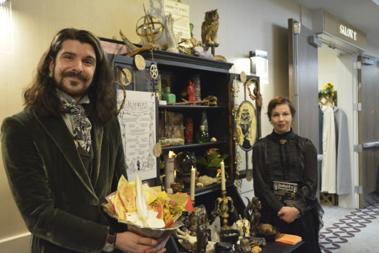Courtesy photo Shown is Nate from Deadwick's Ethereal Emporium (Portsmouth) with their altar display, at last year's Magickal Marketplace and Psychic Faire. This year's event is Saturday at Courtyard Marriott in Nashua.