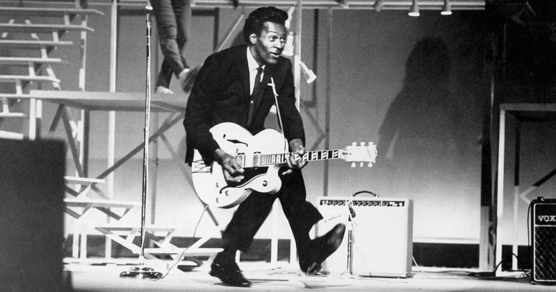 "Courtesy photo Rock 'n' roll pioneer Chuck Berry showing off his signature ""duck walk,"" circa 1950s. Berry died March 18 at the age of 90."