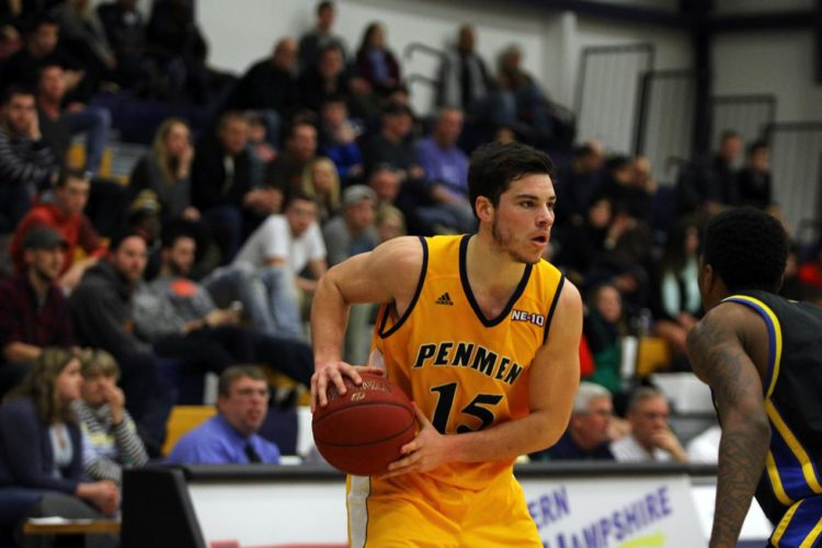Photo courtesy of SNHU Amherst;s Devin Gilligan, shown here in a game during his junior season,  is wrapping up his SNHU career in style with All-American honors.