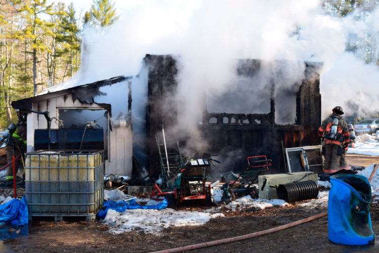 Courtesy photos Merrimack Fire Rescue responded Thursday morning to a blaze at a shed on Amherst Road that caused roughly $25,000 worth of damage.