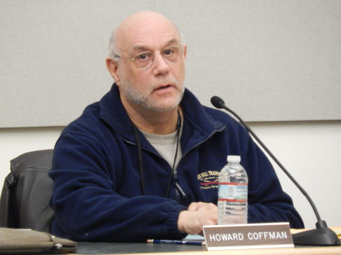 Staff photo by TINA FORBES Board of Education member Howard Coffman speaking at the March 27 board meeting.