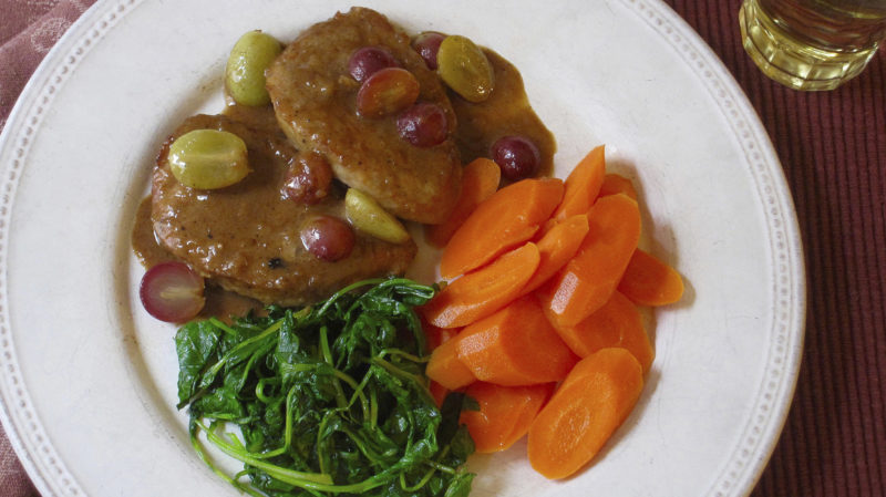 Photo by THE ASSOCIATED PRESS In this photo by chef Sara Moulton, shown is her recipe for sauteed pork medallions with grape sauce.