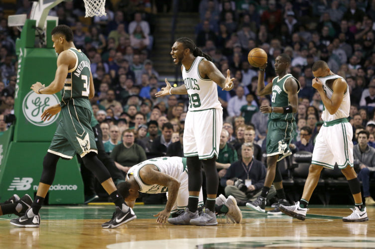 Boston Celtics forward Jae Crowder (99) reacts to a call during the first half of an NBA basketball game against the Milwaukee Bucks, Wednesday, March 29, 2017, in Boston. (AP Photo/Mary Schwalm)