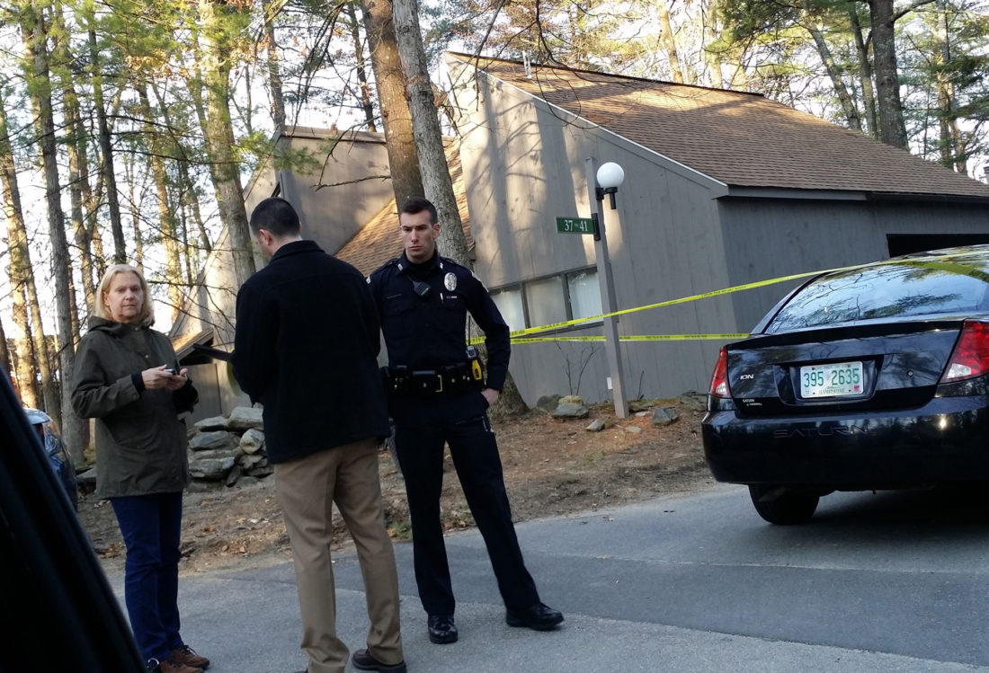 Photo courtesy Chuck MattiaPolice cordoned off a residence at Coburn Woods in Nashua where neighbors heard several shots fired early Friday, April 14.